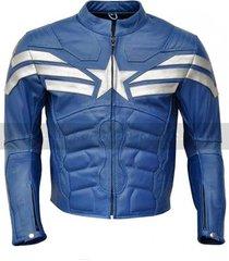 handmade captain america easy rider jacket for men, blue leather jacket
