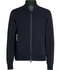 ermenegildo zegna wool-blend performance jacket - blue
