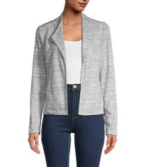 tommy hilfiger women's heathered open-front jacket - midnight ivory - size 2