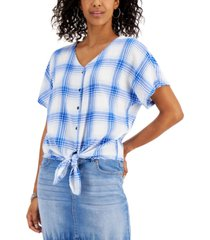 style & co printed button-down tie-front top, created for macy's