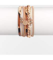 maurices womens animal print chain magnetic bracelet brown