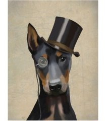 "fab funky doberman, formal hound and hat canvas art - 19.5"" x 26"""