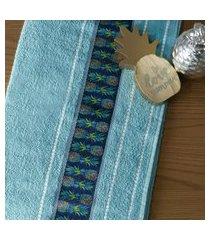 jogo de toalha banho e rosto algodáo excelente absorçáo azul infinity - bene casa