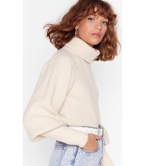 womens get knit right turtleneck balloon sleeve sweater - cream