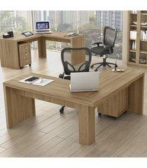 mesa para escritório angular frança amêndoa - pnr móveis