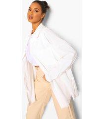 oversized corduroy blouse met gerafelde zoom, ecru