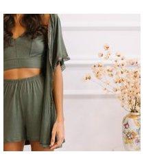 kimono/robe modal + karícia íntima + verde major