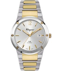 men's salvatore ferragamo f-80 classic two-tone bracelet watch, 41mm