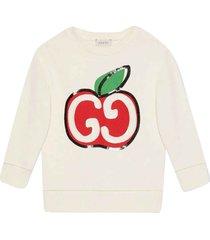 gucci white sweatshirt with multicolor press