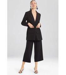 natori solid crepe belted blazer jacket, women's, black, size l natori