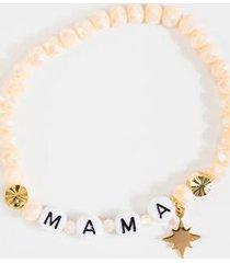 mama beaded stretch bracelet - ivory