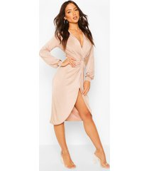 disco slinky twist front wrap dress, stone