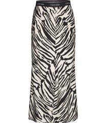 prt elasticated bias midi skirt lång kjol svart calvin klein