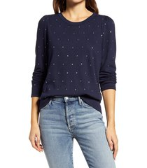 women's wit & wisdom rhinestone sweatshirt, size large - blue (nordstrom exclusive)