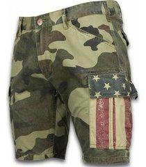 korte broek bb bread buttons korte broeken - slim fit camouflage shorts - licht