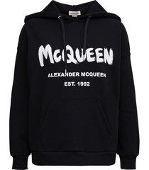 alexander mcqueen black cotton hoodie with graffiti print
