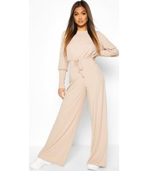 ribbed tie detail wide leg jumpsuit, stone