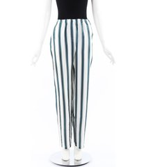 burberry green white striped silk pants green/white sz: l