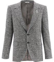 alexander mcqueen square tweed blazer