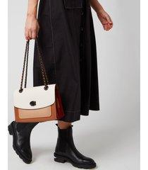 coach women's colorblock leather parker shoulder bag - chalk multi