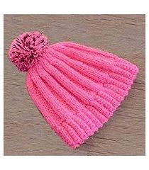 hand-crocheted hat, 'carnation beauty' (guatemala)