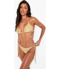 bikini broekje met lage ronde hals en zijstrikjes, gold