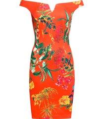 abito a fiori con scollo a barca (rosso) - bodyflirt boutique