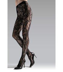 natori lace cut-out net tights, women's, black, size l natori