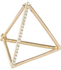 'triangle' diamond 18k yellow gold pyramid single earring - 20mm