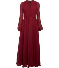 silk puff-sleeve maxi dress