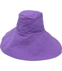 forte forte wide-brim cotton hat - purple