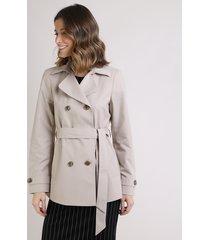 casaco trench coat feminino transpassado com faixa para amarrar off white