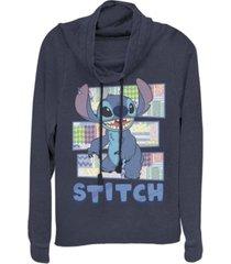 fifth sun juniors disney stitch character shirt with pattern fleece cowl neck sweatshirt