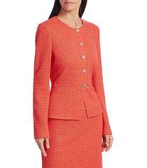 st. john women's ribbon tweed windowpane peplum jacket - tangerine - size 14