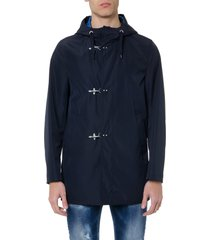 fay parka raincoat in blue technical fabric