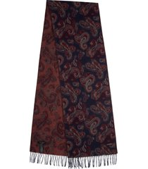 men's ted baker london paisley scarf, size one size - blue