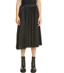 women's sacai zip detail pleated skirt, size 4 - black