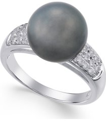 cultured tahitian pearl (11mm) and diamond ring (1/4 ct. t.w.) in 14k white gold