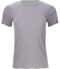 camiseta acanalada con dobladillo color gris, talla 14