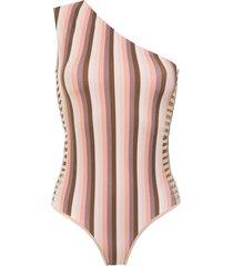amir slama one shoulder swimsuit - brown
