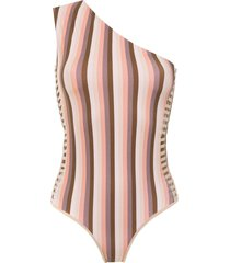 amir slama one shoulder swimsuit - brown