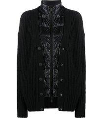 moncler grenoble cardigan-overlay down jacket - black