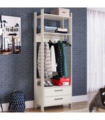 closet 2 gavetas 1 cabideiro cla1002 off white - completa móveis