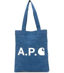 a.p.c. x carhatt interation wip denim tote - blue