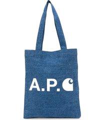 a.p.c. x carhatt interation wip denim tote - blue