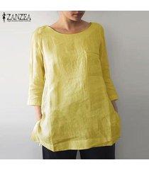 zanzea mujeres o cuello ocasional de la camisa llanura tops de split hem de gran tamaño de la blusa del tamaño extra grande -amarillo
