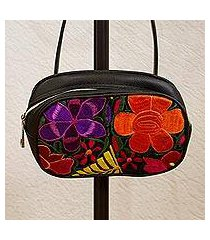 cotton accent leather waist bag, 'fascinating floral' (mexico)