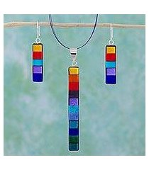 dichroic art glass jewelry set, 'rainbow' (mexico)