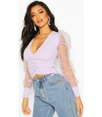 organza puff sleeve ruched side top, lilac