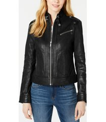 marc new york front-zip leather moto jacket